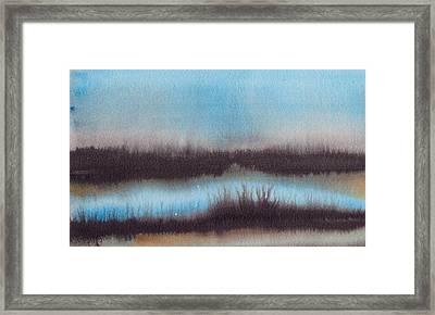 Framed Print featuring the painting Lac Au Soir by Marc Philippe Joly