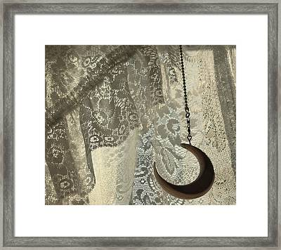 Lace And Crescent - Antiqued Framed Print by ShaddowCat Arts - Sherry