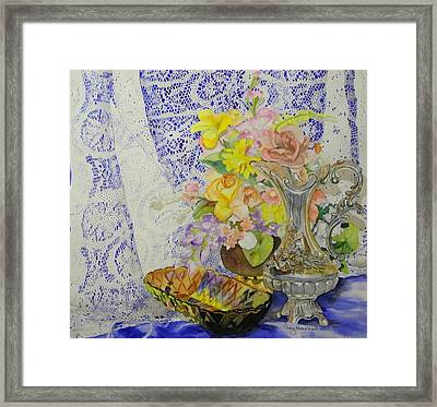 Lace And Flowers Framed Print by Terry Honstead