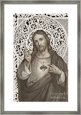Lace Card Depicting The Sacred Heart Of Jesus Framed Print