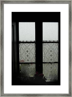 Lace Curtains Adorn The Window Framed Print by Todd Gipstein