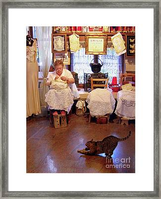Lace Lady Of Burano Framed Print