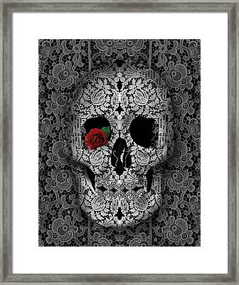 Lace Skull Black Framed Print