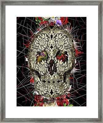 Lace Skull Floral Framed Print by Bekim Art