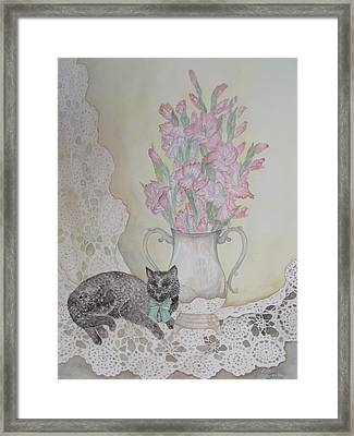 Lace With Stirling Silver Framed Print