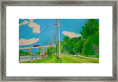 Lachine Canal Pencil Crayon Framed Print