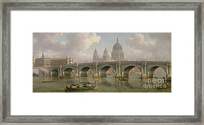 Blackfriars Bridge And St Paul's Cathedral Framed Print by William Marlow