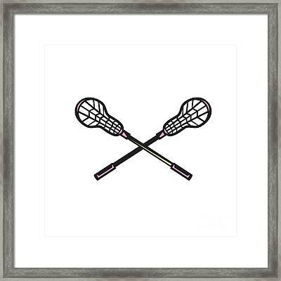 Lacrosse Stick Woodcut Framed Print