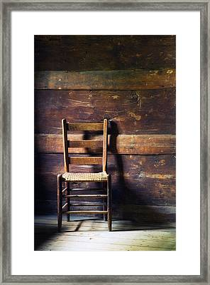 Ladderback Chair In Empty Room Framed Print by Panoramic Images