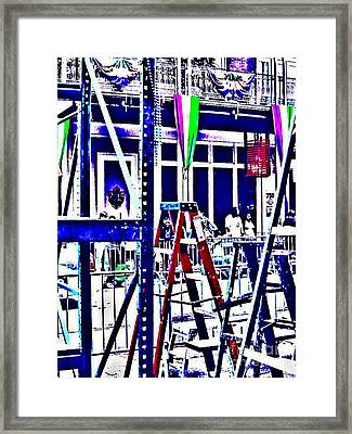 Ladders Stand Waiting Framed Print by Paula   Baker