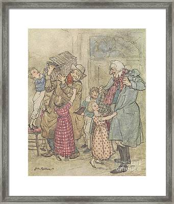 Laden With Toys And Presents Framed Print by Arthur Rackham