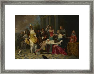 Ladies And Gentlemen Playing La Main Chaude Framed Print by Hieronymus Janssens