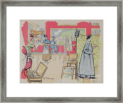 Ladies Attending A Painting Class, 1902 Framed Print
