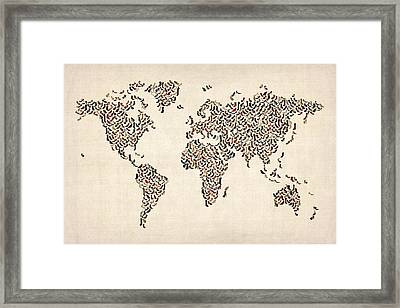 Ladies Shoes Map Of The World Map Framed Print by Michael Tompsett