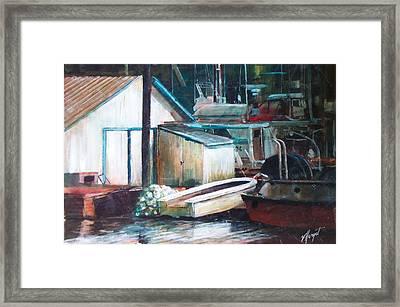 Ladner Harbour Framed Print by Victoria Heryet