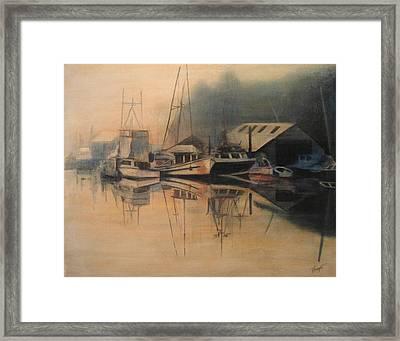 Ladner Mist Framed Print by Victoria Heryet