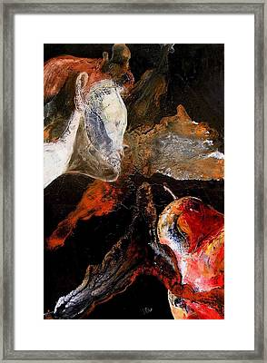 Lady And A Huge Red Pear Framed Print by Evguenia Men