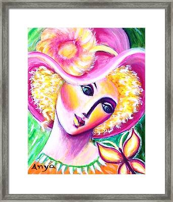 Lady And Butterfly Framed Print