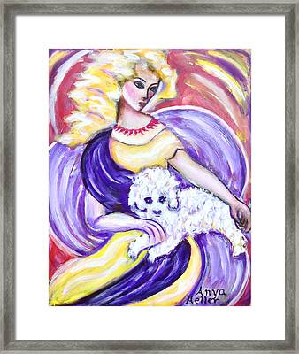 Framed Print featuring the painting Lady And Maltese by Anya Heller
