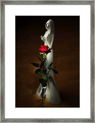 Lady And Rose Framed Print by Svetlana Sewell