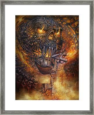 Lady And Skull Framed Print
