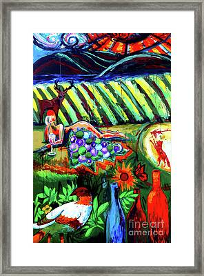 Lady And The Grapes Framed Print by Genevieve Esson