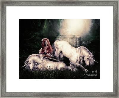 Lady And The Unicorns Framed Print