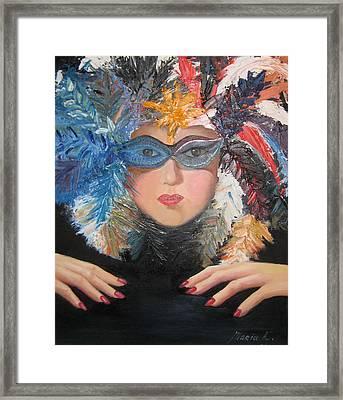 Lady At A Carvinal  Framed Print by Maria Kobalyan