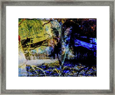Lady At The Beach Through The Frozen Falls Framed Print