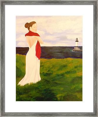 Lady At The Ocean Framed Print by Jennifer Hernandez