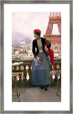 Lady At The Paris Exposition Framed Print