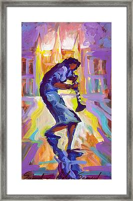 Lady Blue Plays Clarenet At The Saint Louis Cathedral Framed Print by Saundra Bolen Samuel