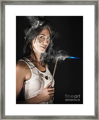 Lady Boilermaker At Work Framed Print by Jorgo Photography - Wall Art Gallery