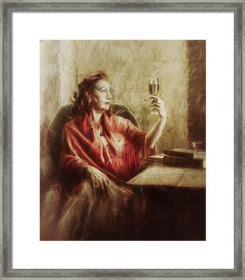 Lady By The Window Framed Print