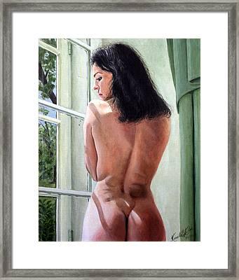 Lady By Window Framed Print by Kenneth Kelsoe
