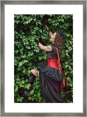 Lady Climbing Wall - Steampunk Framed Print