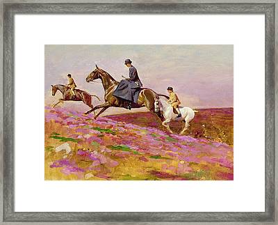 Lady Currie With Her Sons Bill And Hamish Hunting On Exmoor  Framed Print by Cecil Charles Windsor Aldin