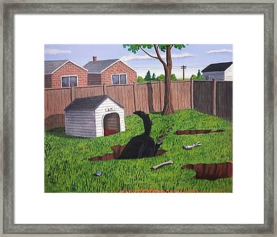 Lady Digs In The Backyard Framed Print
