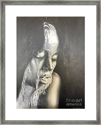 Lady Enjoying A Shower Framed Print