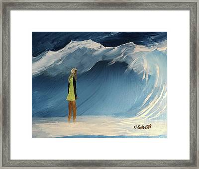 Lady Faces The Wave Framed Print