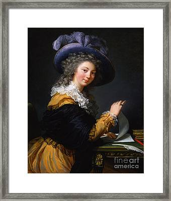 Lady Folding A Letter Framed Print