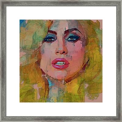 Lady Gaga Portrait Framed Print by Yury Malkov