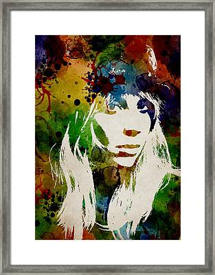 Lady Gaga Watercolor Framed Print by Mihaela Pater