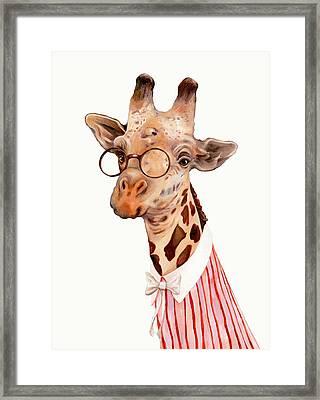 Lady Giraffe Framed Print by Animal Crew