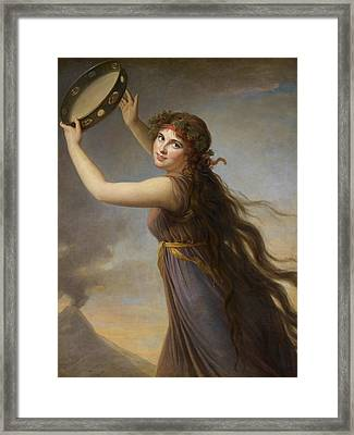 Lady Hamilton, As A Bacchante Framed Print by Elisabeth Louise Vigee-Lebrun