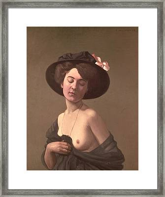 Lady In A Hat Framed Print by Felix Edouard Vallotton