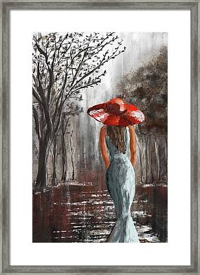 Lady In A Red Hat Framed Print