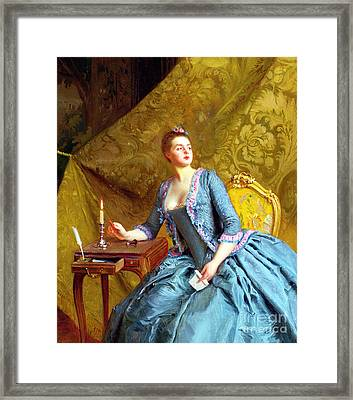 Lady In An Interior Framed Print by Gustave Jacquet