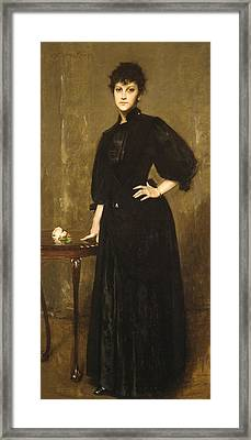 Lady In Black Framed Print by William Merritt Chase