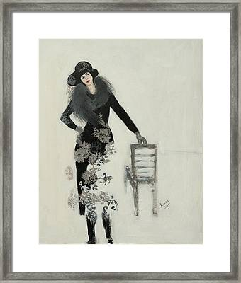 Lady In Black With Flowers Framed Print by Susan Adams